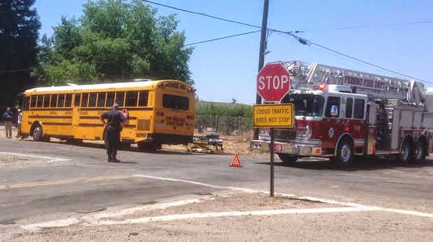 fresno central unified school bus crash pickup truck kearney cornelia avenue
