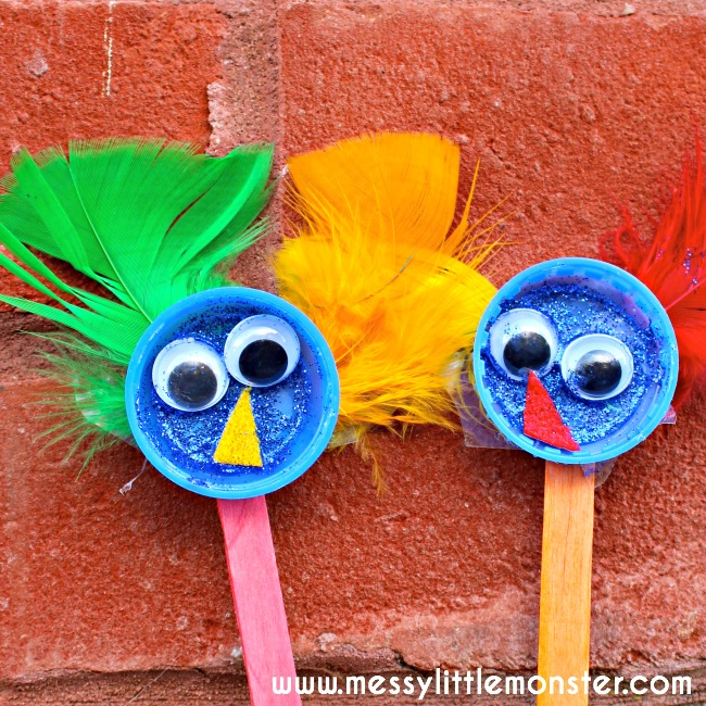 An easy and fun bird puppet kids craft for toddlers and preschoolers. Upcycle bottle tops to make these adorable birds and use them in imaginative play and to act out the nursery rhyme 'Two Little Dickie Birds'.
