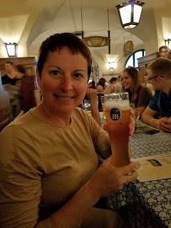 woman drinking beer Germany Munich Hofbrauhaus