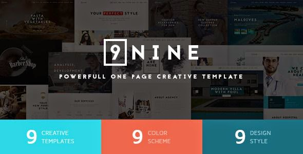 Nine - Premium One Page Design PSD Template