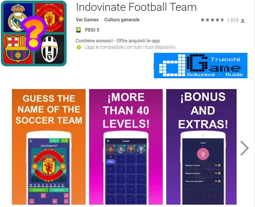 Soluzioni Indovinate Football Team | Screenshot Livelli con Risposte