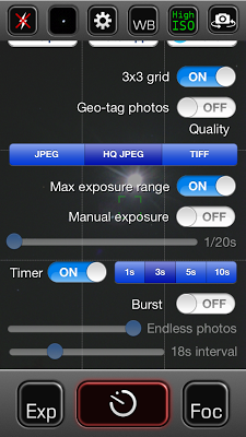 night cap app screen shot settings