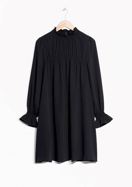 black high neck frill dress