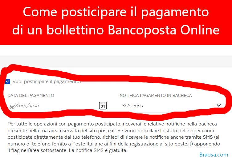 Come posticipare il pagamento di un bollettino postale bancoposta online