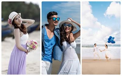 Hoa, kính râm, bóng bay, mũ… là những món phụ kiện chụp ảnh ở biển thường dùng