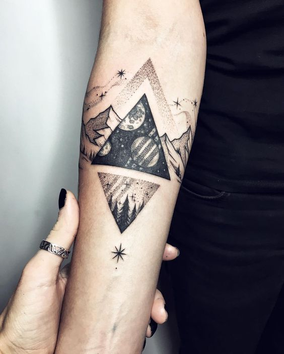 Cosmic Triangle Tattoos