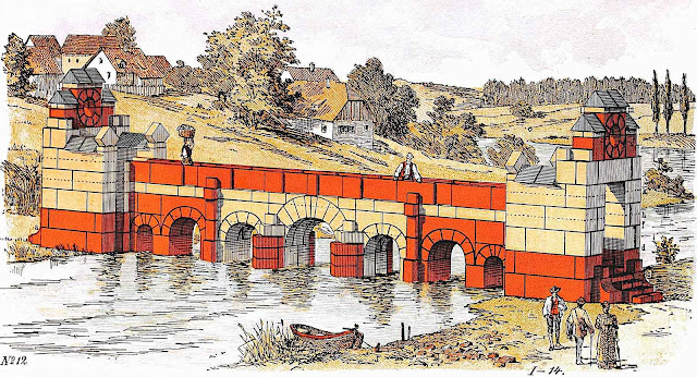 from a 1900 toy catalog,  a color illustration of an imaginary toy-block bridge