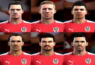 Faces: Marko Arnautovic, Marc Janko, Gyorgy Garics, Emanuel Pogatetz,Christian Fuchs, Aleksandar Dragovic, Pes 2013