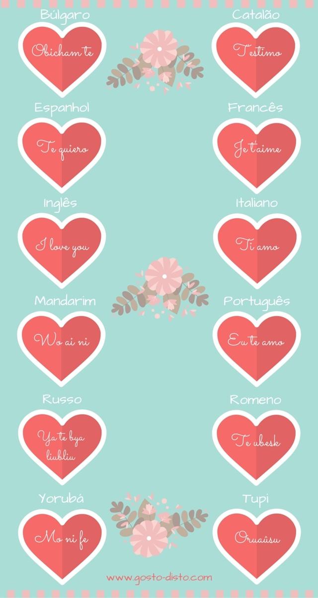 Eu te amo em vários idiomas