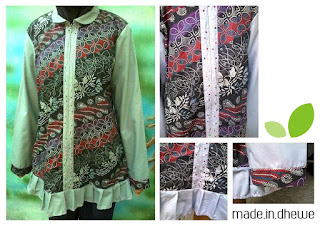 dress batik cantik lengan panjang abu full
