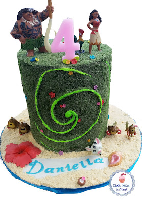 The Heart of Te Fiti Moana Cake with edible moss, flowers. Birthday Cake.