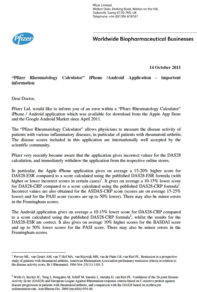 The First Ever Dear Doctor Letter Regarding Recall Of A Mobile Medical App Click To Enlarge