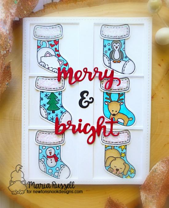 Merry & Bright Christmas Stocking Card by Maria Russell | Holiday Stockings Stamp Set, Stylish Stockings Die set and Holiday Greetings Die Set by Newton's Nook Designs #newtonsnook #handmade