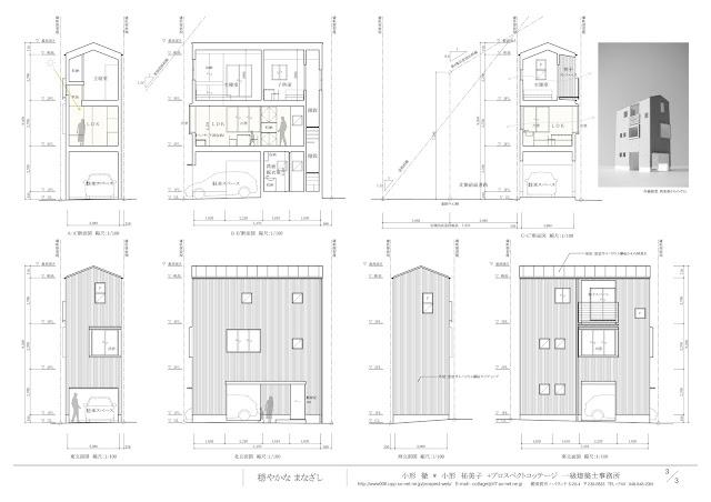 お気に入りの居心地よい場所を楽しむ三階建て狭小都市型住宅 断面・立面計画