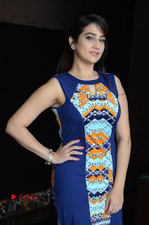 Actress Anchor Manjusha Pictures in Blue Short Dress at Jaguar Movie Success Meet .COM 0006.jpg