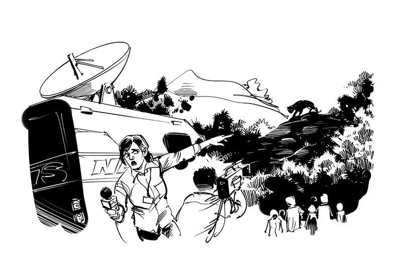 children's book thriller story illustration
