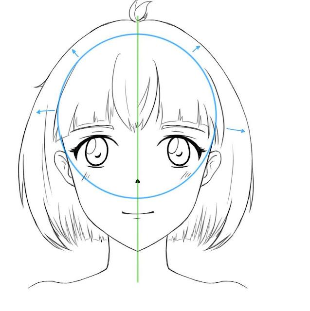dessiner les cheveux sur un visage manga