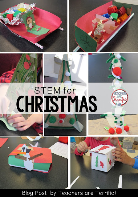 STEM Challenges for Decmebr: CHeck this blog post for five ways to add STEM to your Christmas classroom activities!