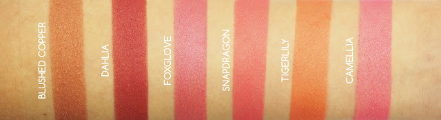 Swatches of Becca Shimmering Skin Perfector Luminous Blush