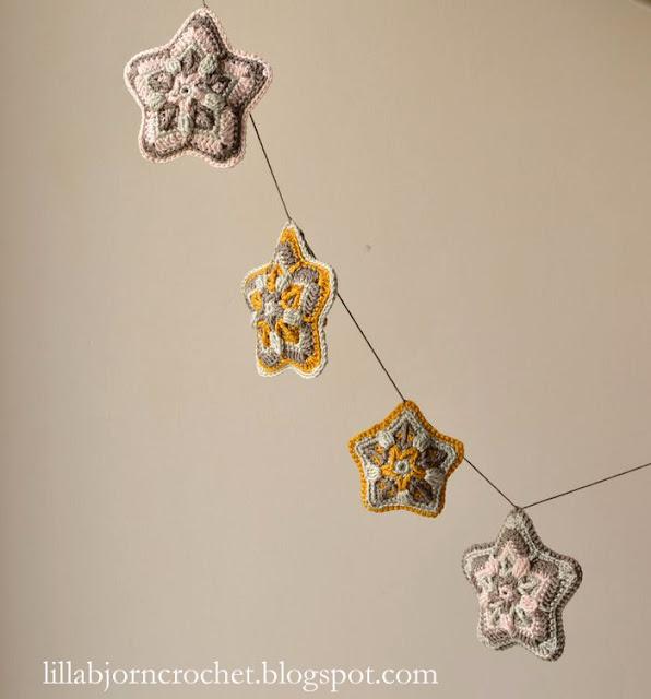 Christmas Star Hanging Ornament - Designed by LillaBjornCrochet