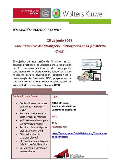 """Sesión de formación presencial gratuita """"Técnicas de investigación bibliográfica en la plataforma Ovid"""""""