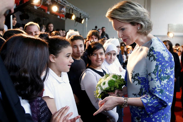 Queen Mathilde of Belgium attend a meeting during a visit to project 'Une etoile, un Destin, style royal weddings royal tiara, diamond