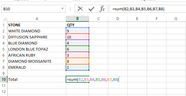 sum function with cell references