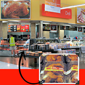 Walmart Deli counter and ready to eat fried chicken