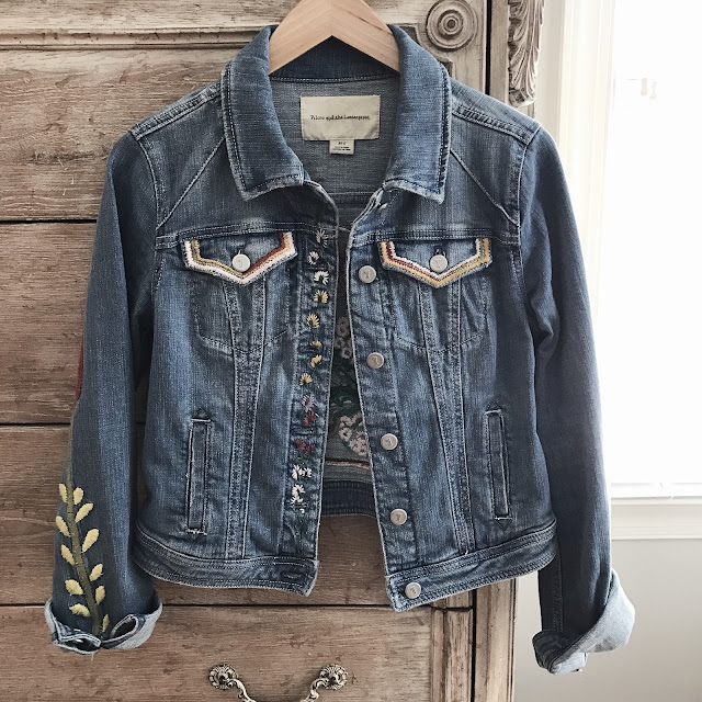 anthropologie embroidered denim jacket