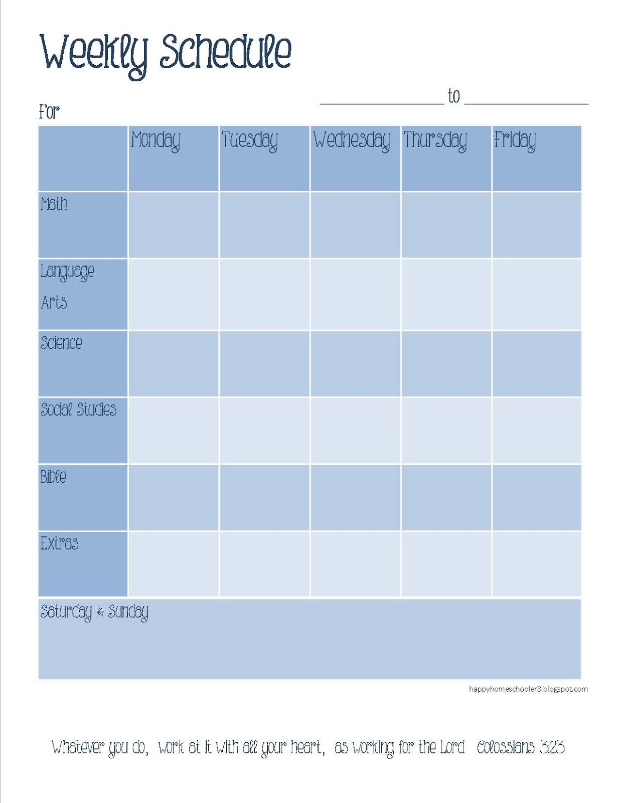 Blank Weekly Calendar M F