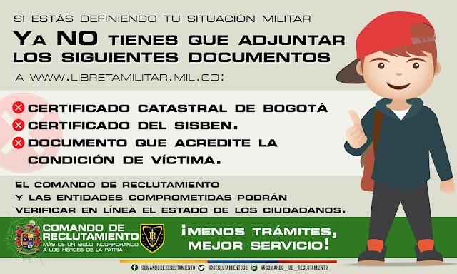 Nuevos documentos se dejan de exigir dentro del proceso de definición de la situación militar