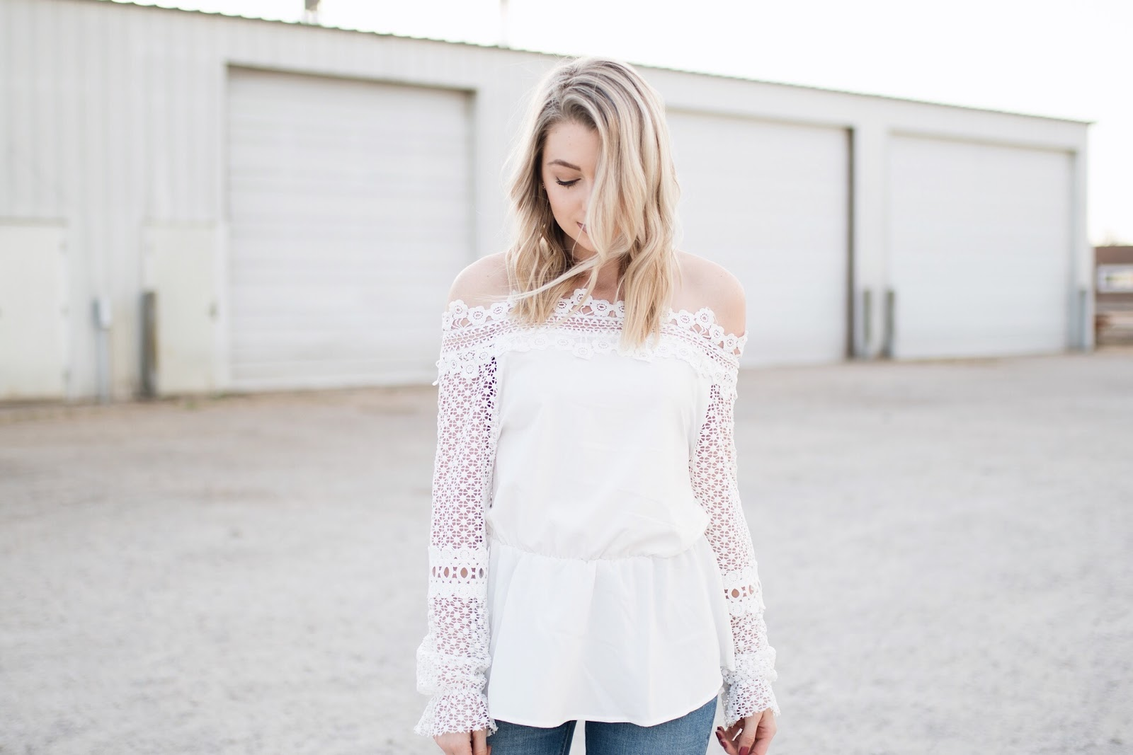 white off-shoulder top