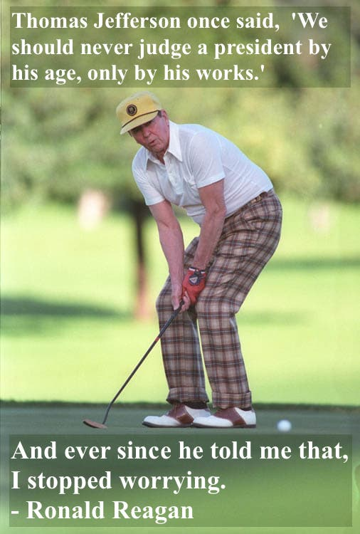 Ronald Reagan golfing in plaid pants. Dad Pants and other stories of Reagan. marchmatron.com