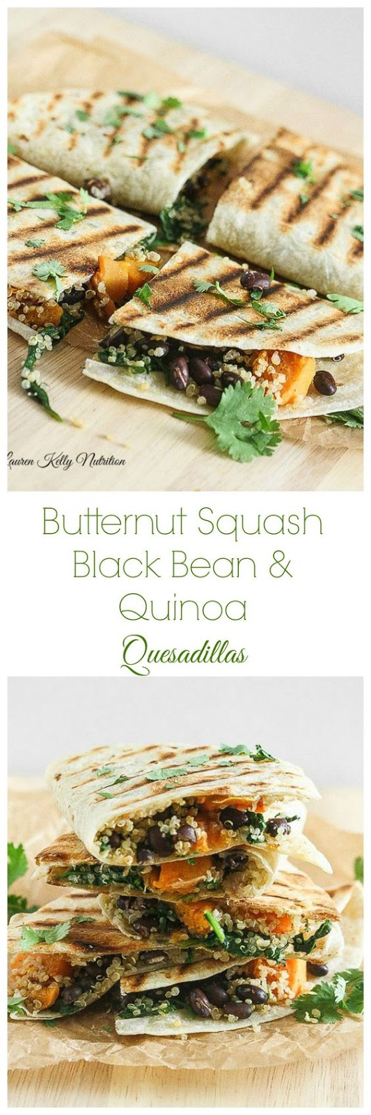 Butternut Squash Black Bean and Quinoa Quesadillas
