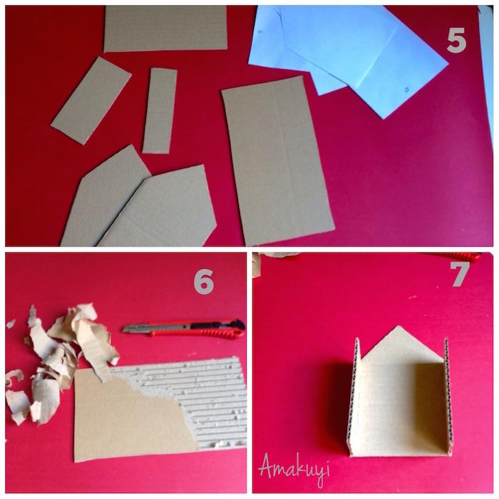 corte del cartón y formación del tejado pelando el cartón
