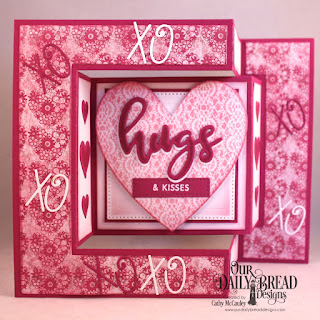 Our Daily Bread Designs Stamp/Die Duos: Hugs, Paper Collection: Heart and Soul,Custom Dies:  Tri-Fold Card with Layers, Pierced Squares, Ornate Hearts, Layering Hearts, Alphabet