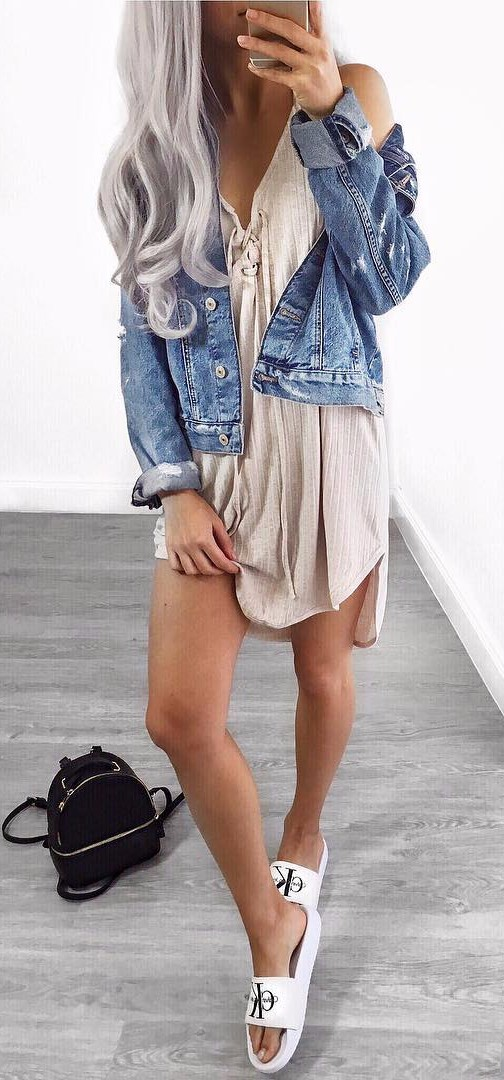 wearing this amazing lace-up dress with a jean jacket