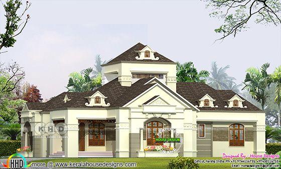 One floor Colonial type villa plan