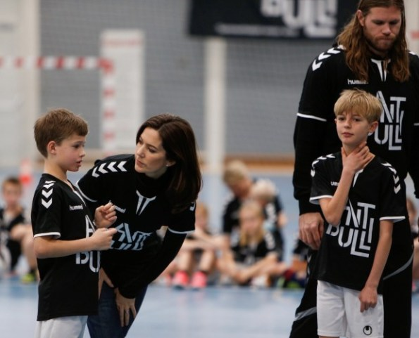 The Crown Princess participate in an exercise with some children earlier this year