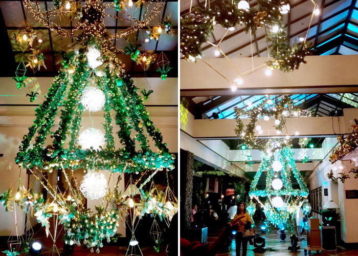 Floor to ceiling suspended geometric Christmas tree   at Waterfront Insular Hotel lobby
