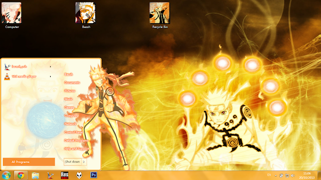 Windows 7 Theme Naruto Bijuu Mode by Bashkara