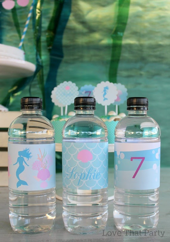 image of printable water bottle labels at mermaid birthday