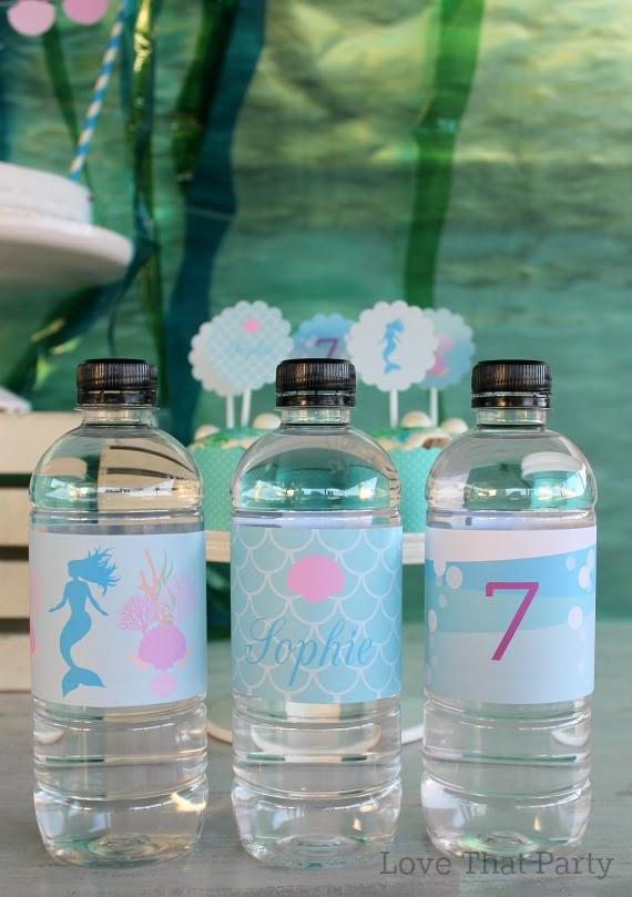 image of printable water bottle labels at mermaid birthday