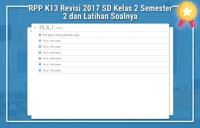 RPP K13 Revisi 2017 SD Kelas 2 Semester 2 dan Latihan Soalnya