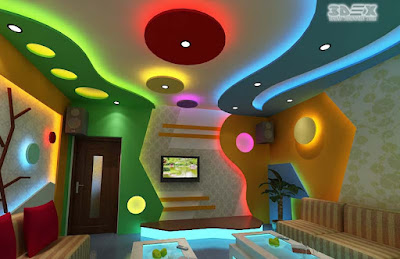 POP false ceiling design with colored LED indirect lighting for living rooms