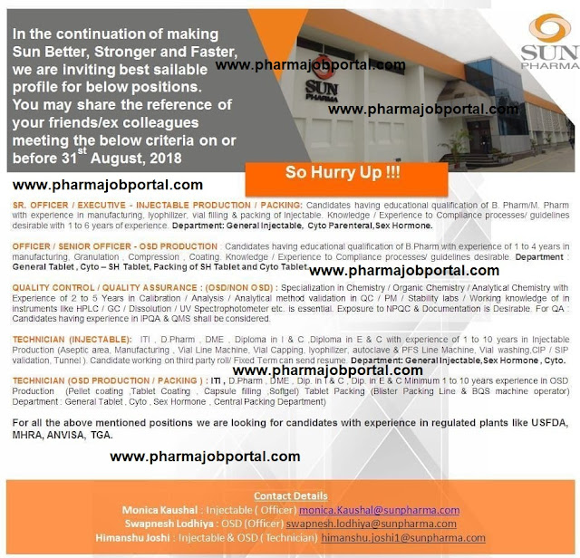 SUN PHARMA Urgent Openings for Quality Control, Quality Assurance, Production, Packing Apply before 31 August
