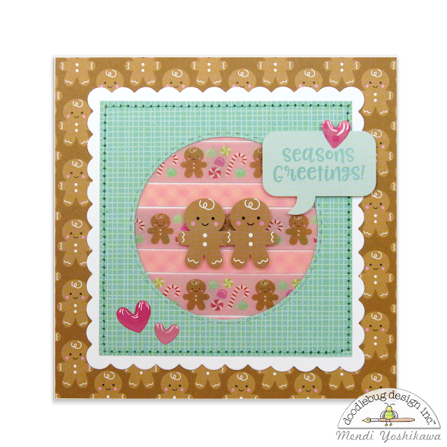 Doodlebug Design Milk & Cookie Washi Tape Gingerbread Holiday Christmas Card by Mendi Yoshikawa