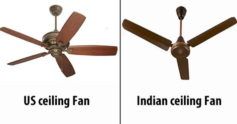 Why Ceiling Fans In India have 3 Blades Whereas US has 4-5 Blade Fans