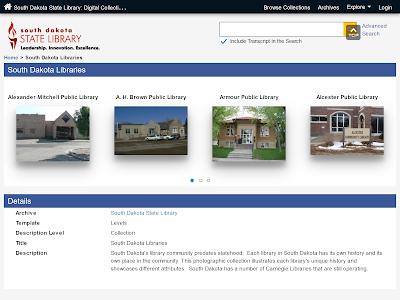 screenshot of south dakota library photo collections webpage