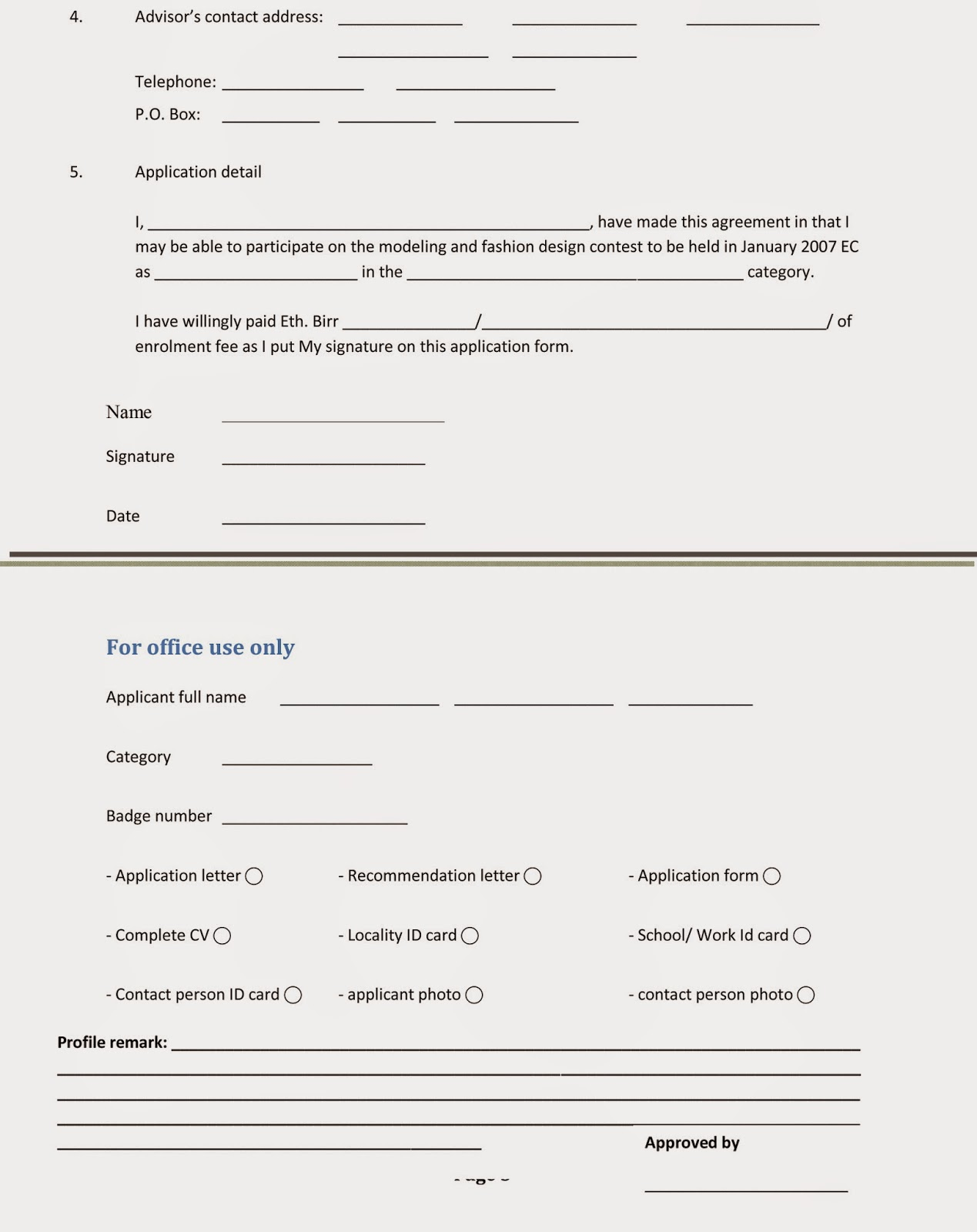 Adama Annual Modeling Fashion Design Contest 2007 E C Designers Registration Form